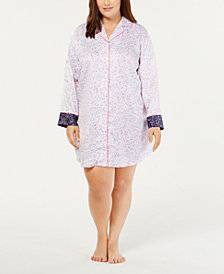 Charter Club Plus Size Contrast-Trimmed Printed Sleepshirt, Created for Macy's