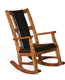 Sedona Rustic Oak Rocker, Black Cushion Seat