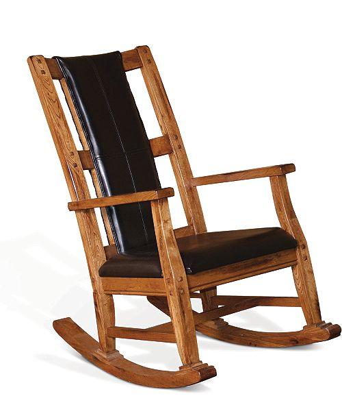 Terrific Sunny Designs Sedona Rustic Oak Rocker Black Cushion Seat Short Links Chair Design For Home Short Linksinfo