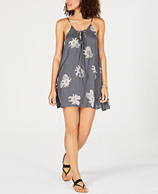 Roxy Printed Lace-Up Dress Cover-Up