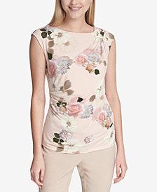 Calvin Klein Printed Ruched-Shoulder Top