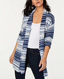 Style & Co Striped Open-Front Cardigan, Created for Macy's