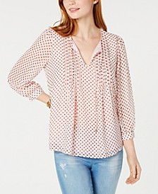 Dotted Pintuck-Pleat Top, Created for Macy's