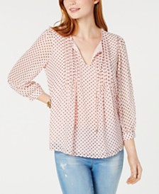 Tommy Hilfiger Dotted Pintuck-Pleat Top, Created for Macy's