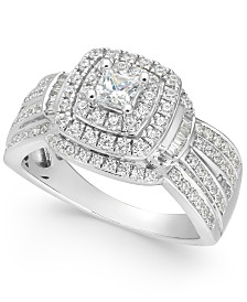 Diamond Princess Halo Cluster Ring (1 ct. t.w.) in 14k White Gold