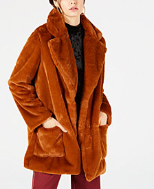 Sage The Label Faux Fur Open-Front Coat