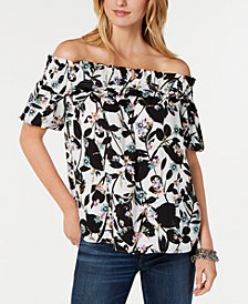 Tommy Hilfiger Floral-Print Off-The-Shoulder Top, Created for Macy's
