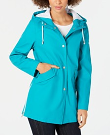 French Connection Hooded Zip-Slit Raincoat