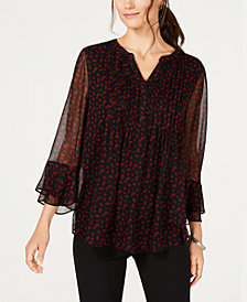 Charter Club Floral-Print Ruffle-Sleeve Top, Created for Macy's