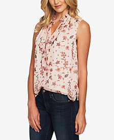 CeCe Bohemiam Garden Printed Ruffled Sleeveless Blouse