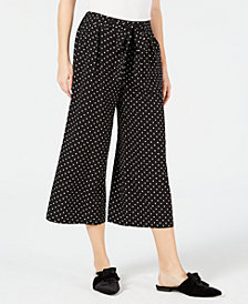 Maison Jules Polka-Dot Wide-Leg Cropped Pants, Created for Macy's
