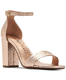 Katy Perry Goldy Hammered-Embossed Dress Sandals
