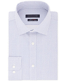 Tommy Hilfiger Men's Fitted TH Flex Performance Stretch Moisture-Wicking Blue Print Dress Shirt