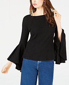 Sage The Label Ribbed-Knit Bell-Sleeve Top