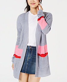 Ultra Flirt by Ikeddi Juniors' Colorblocked Long Cardigan