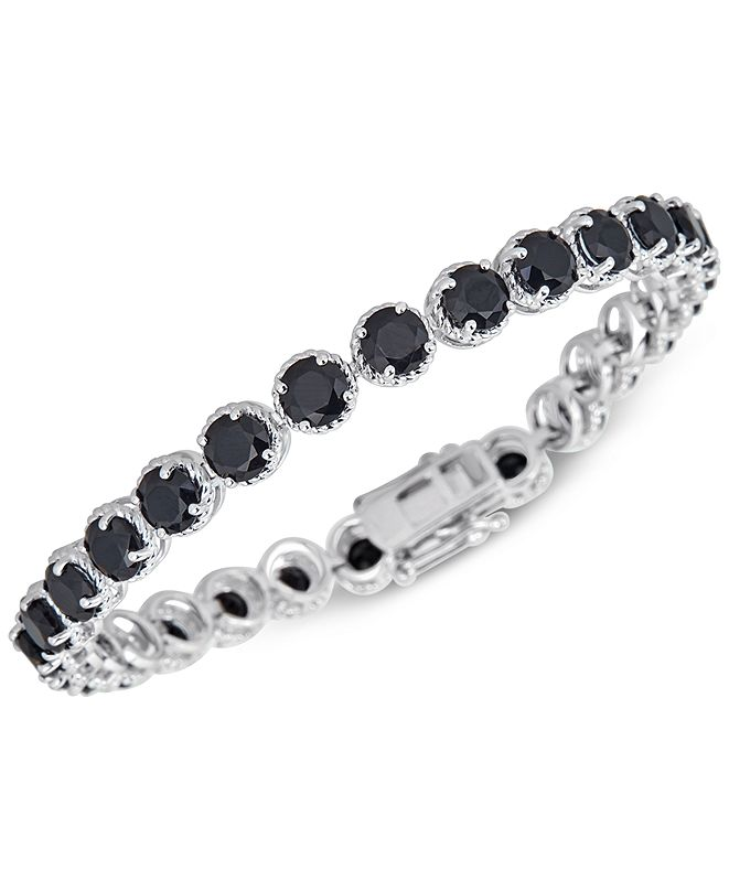Macy's Onyx (5mm) Link Bracelet in Sterling Silver