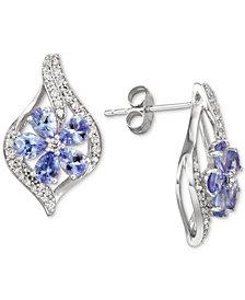 Emerald (1-1/2 ct. t.w.) & Diamond (1/3 ct. t.w.) Stud Earrings (Also in Sapphire, Tanzanite & Certified Ruby)