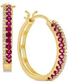 Emerald (1/2 ct. t.w.) & Diamond (1/8 ct. t.w.) Hoop Earrings (Also in Sapphire & Certified Ruby)