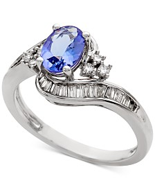 Tanzanite (1 ct. t.w.) & Diamond (3/8 ct. t.w.) Ring in 14k White Gold (Also in Emerald)