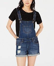 Juniors' Cuffed Denim Shortalls, Created for Macy's