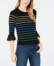 Maison Jules Striped Ruffled-Cuff Sweater, Created for Macy's