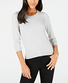 Maison Jules 3/4-Sleeve Crewneck Sweater, Created for Macy's