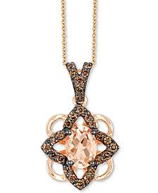 """Le Vian® Morganite (1/2 ct. t.w.) & Diamond (1/4 ct. t.w.) 18"""" Pendant Necklace in 14k Rose Gold"""