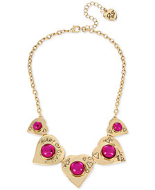 "Betsey Johnson Gold-Tone ""Heart of Glass"" Statement Necklace, 16"" + 3"" extender"