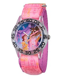 Disney Princess Belle and Beast Girls' Clear Plastic Time Teacher Watch