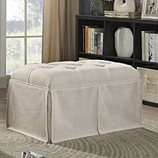 Rectangular Button Tufted Fabric Upholstered Bench With Storage