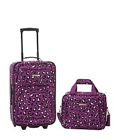 Rockland 2PCE Purple Leopard Softside Luggage Set