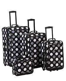 Rockland 4-Piece Black Dots Luggage Set