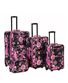 Rockland 4PCE Pucci Softside Luggage Set