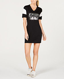 Material Girl Active Juniors' Mesh-Trimmed Graphic T-Shirt Dress, Created for Macy's