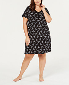 Charter Club Plus Size Printed Knit Sleepshirt, Created for Macy's