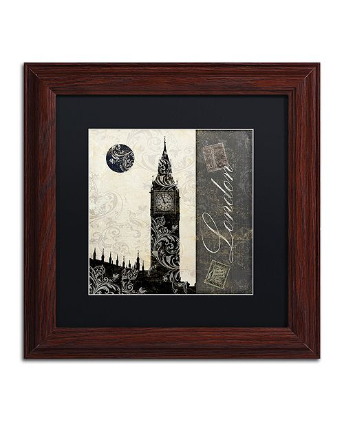 "Trademark Global Color Bakery 'Moon Over London' Matted Framed Art, 11"" x 11"""
