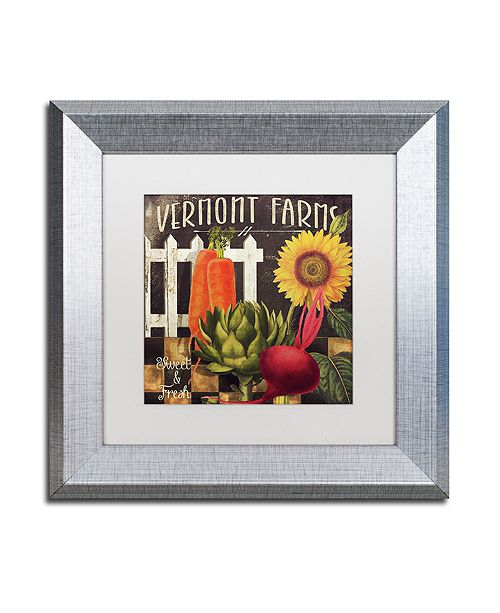 "Trademark Global Color Bakery 'Vermont Farms Viii' Matted Framed Art, 11"" x 11"""