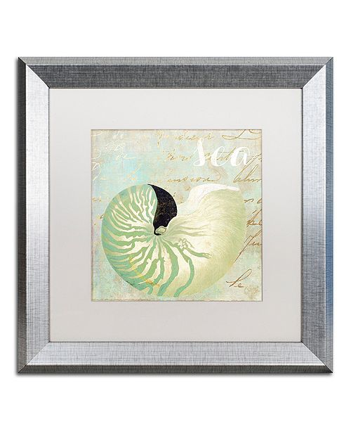 "Trademark Global Color Bakery 'Turquoise Beach I' Matted Framed Art, 16"" x 16"""