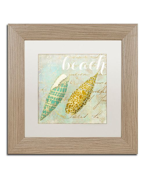 """Trademark Global Color Bakery 'Turquoise Beach Ii' Matted Framed Art, 11"""" x 11"""""""