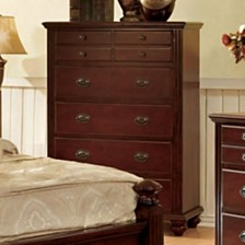 Transitional Style Wooden Chest, Cherry Brown
