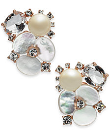 kate spade new york Rose Gold-Tone Crystal, Imitation Pearl & Mother-of-Pearl Cluster Stud Earrings