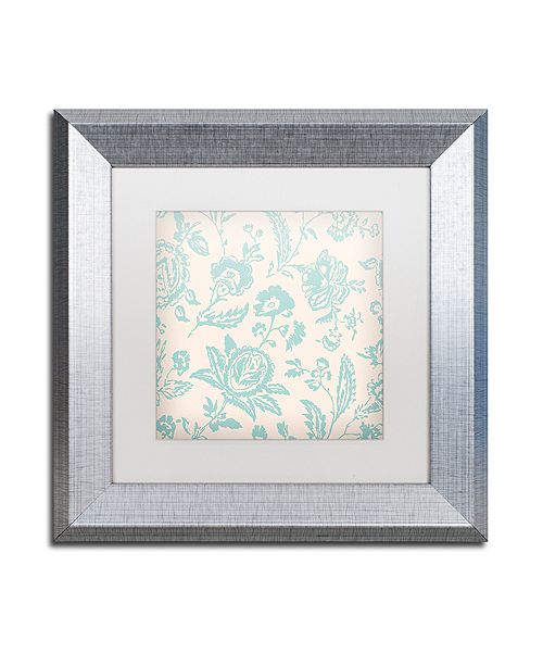 "Trademark Global Color Bakery 'Toile Fabrics Xi' Matted Framed Art, 11"" x 11"""