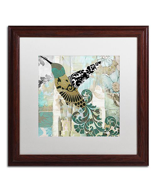"Trademark Global Color Bakery 'Hummingbird Batik Ii' Matted Framed Art, 16"" x 16"""