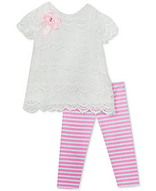 Rare Editions Baby Girls 2-Pc. Tiered Lace Top & Striped Leggings Set