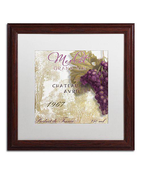 """Trademark Global Color Bakery 'Grand Vin Merlot' Matted Framed Art, 16"""" x 16"""""""