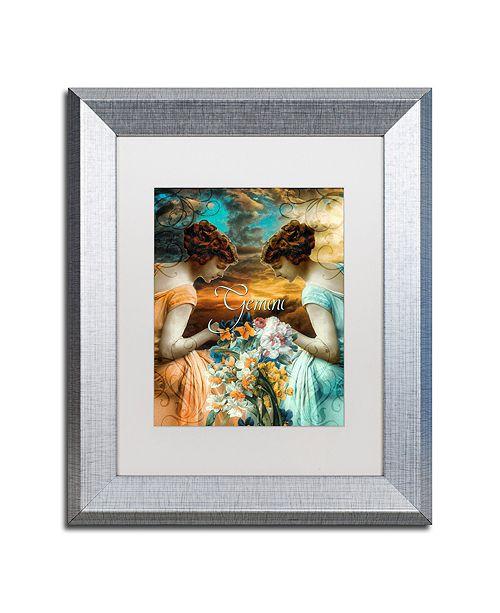 "Trademark Global Color Bakery 'Art Nouveau Zodiac Gemini' Matted Framed Art, 11"" x 14"""