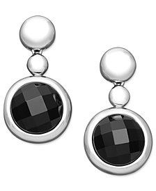 Sterling Silver Earrings, Onyx Drop Earrings (15-16mm)