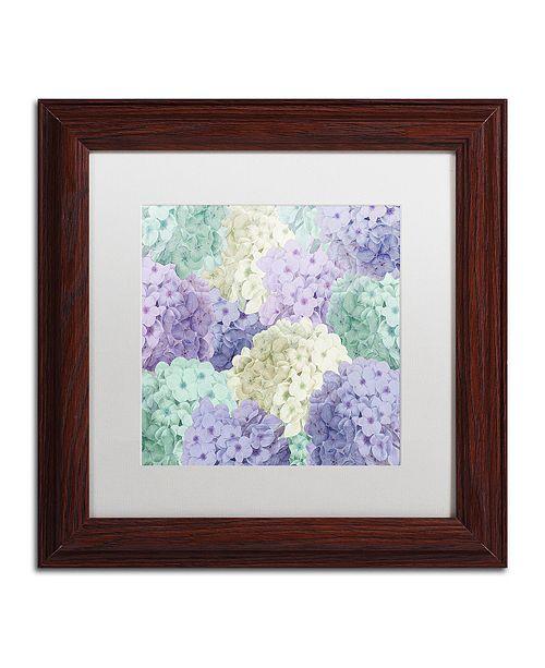 "Trademark Global Color Bakery 'Hortensia Groundless Cool Tones' Matted Framed Art, 11"" x 11"""