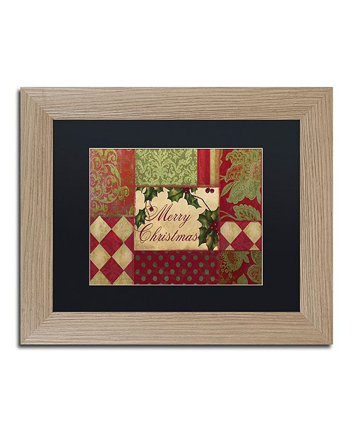 "Trademark Global Color Bakery 'Merry Christmas Patchwork I' Matted Framed Art, 11"" x 14"""
