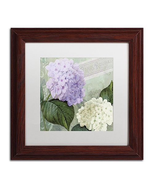 "Trademark Global Color Bakery 'Hortensia 1' Matted Framed Art, 11"" x 11"""